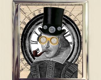Victorian Steampunk William Shakespeare Cigarette Case Business Card ID Holder Wallet Altered Art Pop Surrealism Author