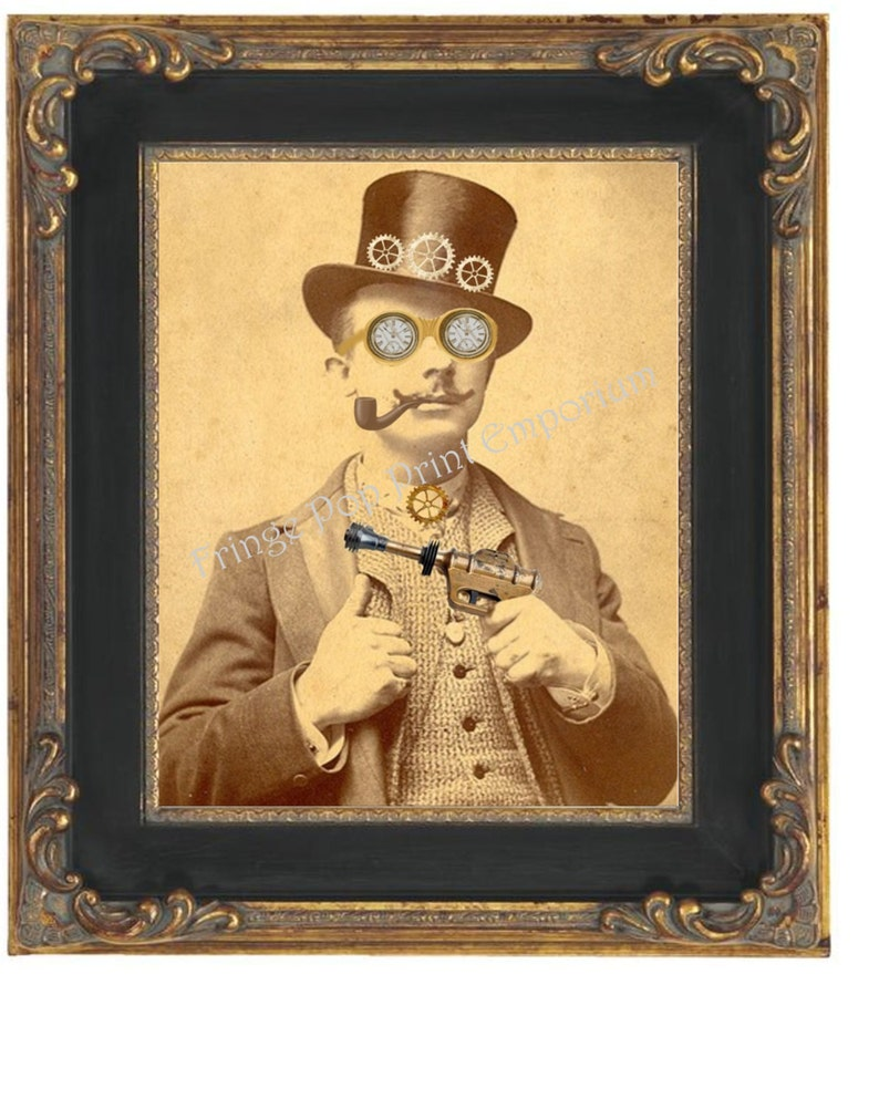 906c0e3e6 Victorian Steampunk Man Art Print 8 x 10 - Goggles - Top Hat - Ray Gun -  Altered Art