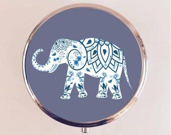Indian Elephant Pill Box Case Pillbox Holder Trinket Stash Box Hindu Mandala India Paisley