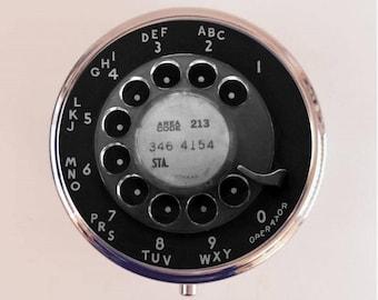 Rotary Telephone Pill Box Case Pillbox Holder Trinket Stash Box Phone Dial Pop Art Retro