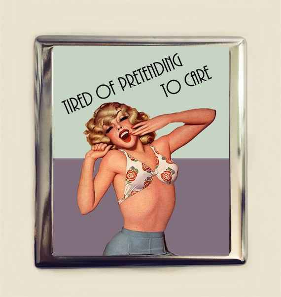 Im Fresh Out of F*cks Cigarette Case Business Card ID Holder Wallet Pin Up Pinup Girl Funny Retro Humor Sarcastic
