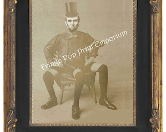 Victorian Sideshow Abraham Lincoln Art Print 8 x 10 - Circus Freak - Altered Art Abraham Lincoln - Three Legged Wonder