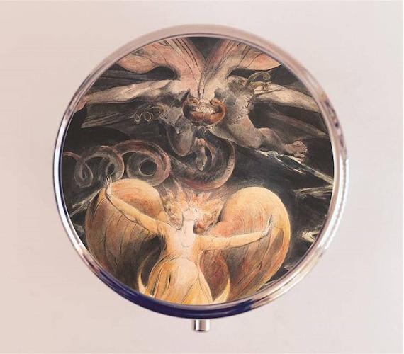 William Blake pilule boîte pilulier étui porte bijou cachette boîte Dragon Rouge Fine Art peinture poète