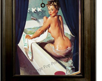 Pin up in Bath Art Print - 11 x 14