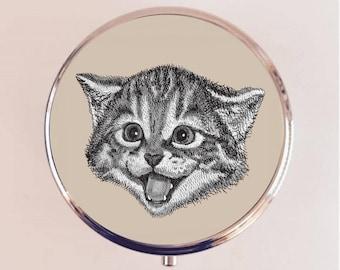 Happy Cat Pill Box Case Pillbox Holder Trinket Stash Box Kawaii Pop Art Kitten