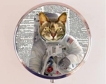 Astronaut Cat Pill Box Case Pillbox Holder Trinket Stash Box Anthropomorphic Animal Art Outerspace