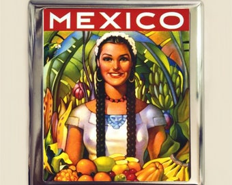Mexican Travel Poster Cigarette Case Business Card ID Holder Wallet Fruit Woman Mexico Vintage Ad