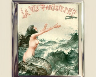 Parisian Mermaid Cigarette Case Business Card ID Holder Wallet French Art Deco Nautical Flapper Version Two