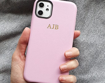 Soft Pink PU faux leather embossed phone case - iPhone 11, embossed leather case, iPhone 8 Plus case, silver embossed iPhone 7, iPhone XR