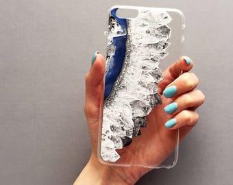 Byron Crystal Clear Case - Samsung Galaxy S8 case, crystal case, clear iPhone case, blue agate, iPhone 7plus case, iPhone 11 case, iPhone 8