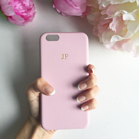 best website f1f31 f3eed Soft Pink PU leather embossed phone case - embossed leather case, iPhone 8  Plus case, pink and gold phone case, silver embossed iPhone 7