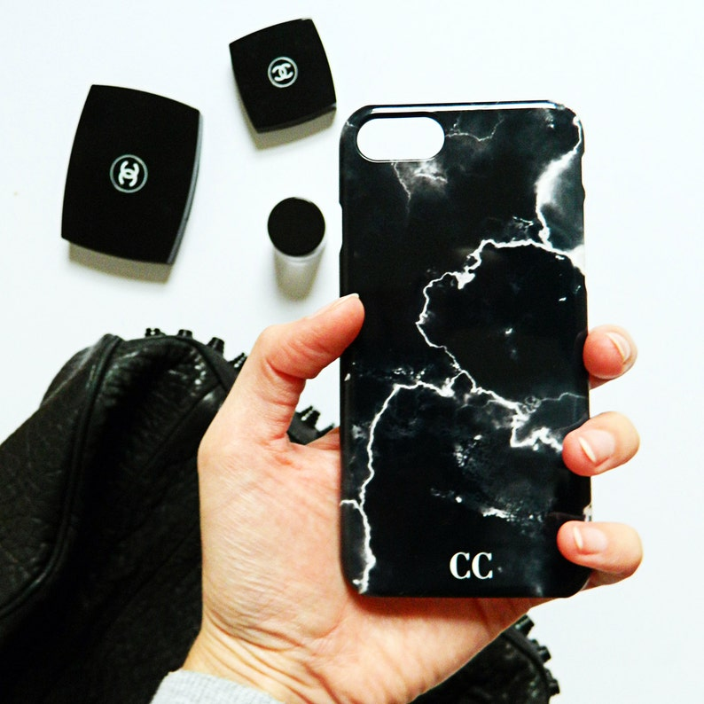 purchase cheap bae0f 844a8 Black and white cracked marble monogram case - iPhone X MAX case, iPhone 7,  iPhone 7 Plus, Samsung Galaxy S7, Samsung Galaxy S6, iPhone SE