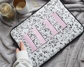 Regina speckle print monogram Laptop case - minimal laptop case, macbook case, macbook pro laptop case, padded laptop case, monogram laptop