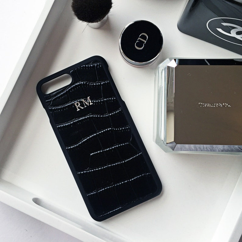 hot sale online 7b51e f1b6d Black croc effect leather monogram case - iPhone X leather case, monogram  leather case, personalised leather iPhone X case, iPhone 7 case