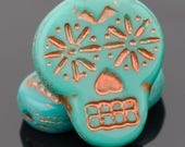 SUGAR SKULL Czech Pressed Glass (4) TURQUOISE Gold or Pink-Wash Specialty Trendy Bead