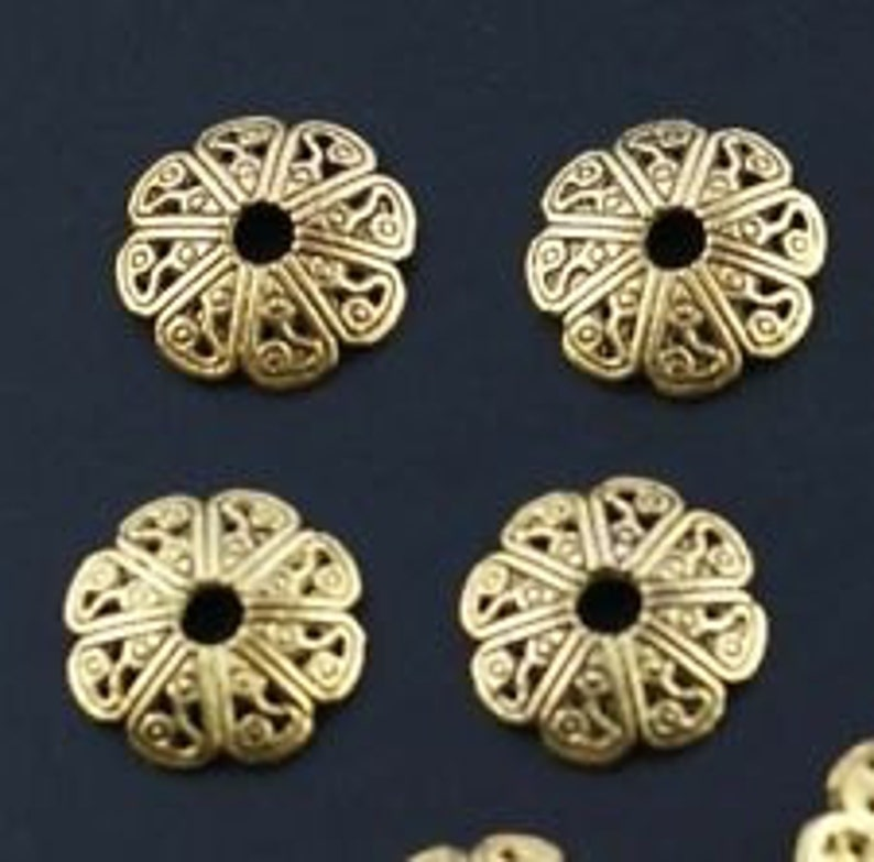 Tibetan Antique COPPER 18mm Unique Bead Caps