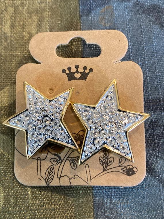 VINTAGE MONET STAR Clip-On Earrings c1980s