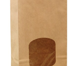 Bakery (10) Bags 1# KRAFT Brown with Window|Closure Coffee Cookies Favor Donut
