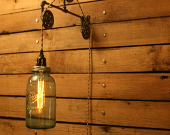 Pulley Wall Mount Light Industrial Wall Sconce Pendant Etsy