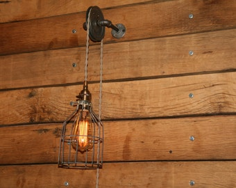 Pulley Wall Mount Light - Industrial Wall Sconce - Pendant Light on Aged Pulley Mount