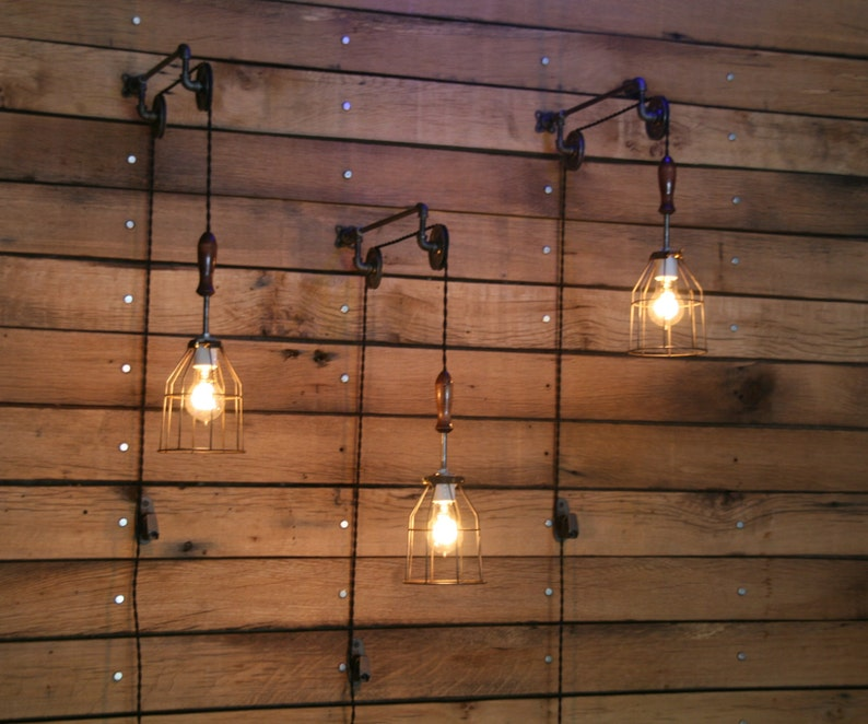 Pulley Wall mount with Industrial cage Light and Wooden Handle image 0