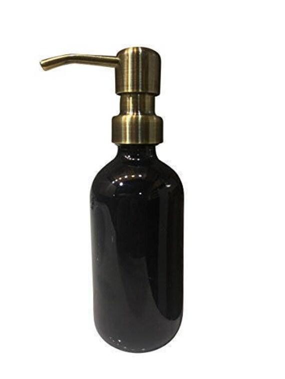 Industrial Rewind Clear Soap Dispenser// 8oz Glass Bottle with Brass Metal Soap Pump