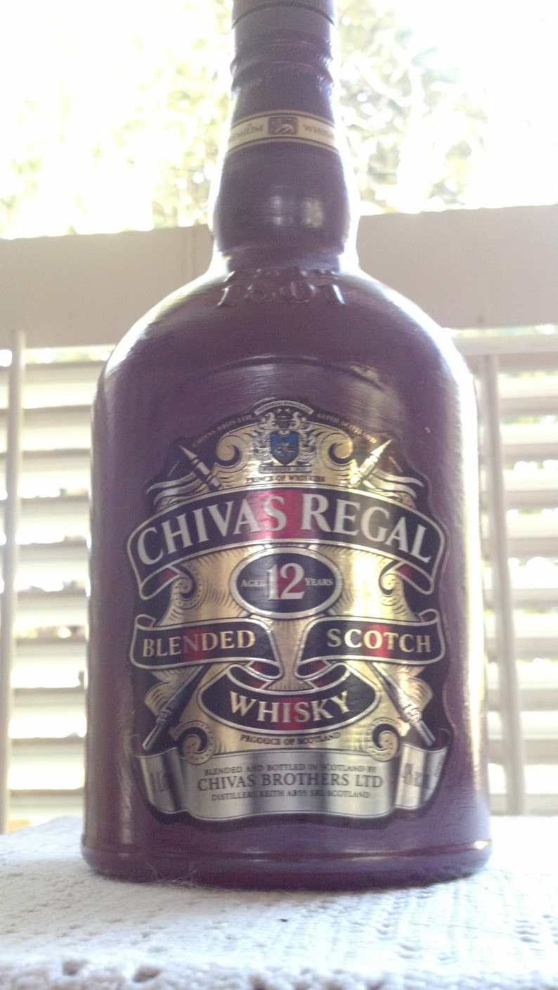 ed2ee5202 CHIVAS REGAL Glass Bottle Hand Painted decanter recycled | Etsy