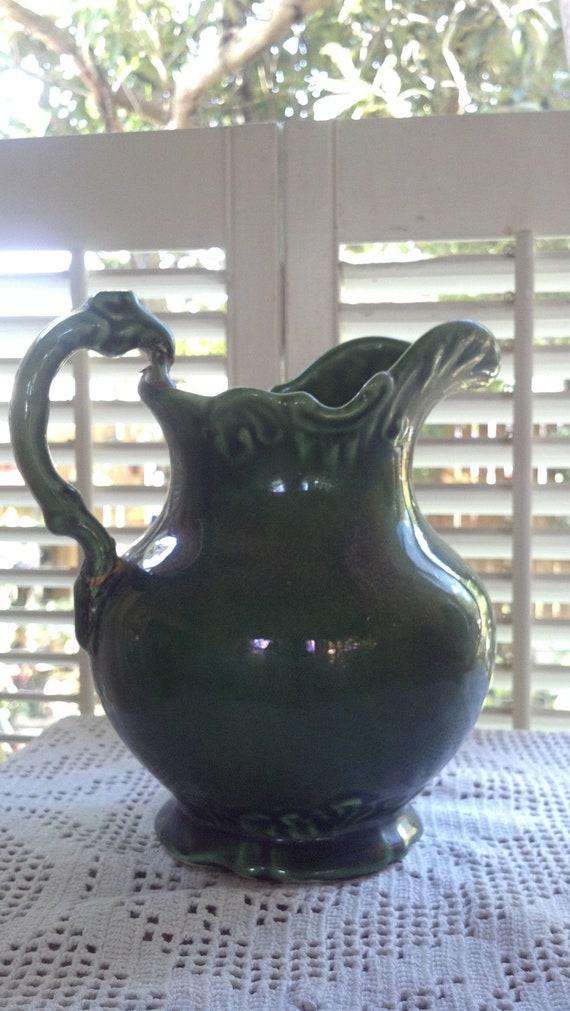 Vintage Forest Green Camark Pottery 209 Pitcher Vase Or Etsy