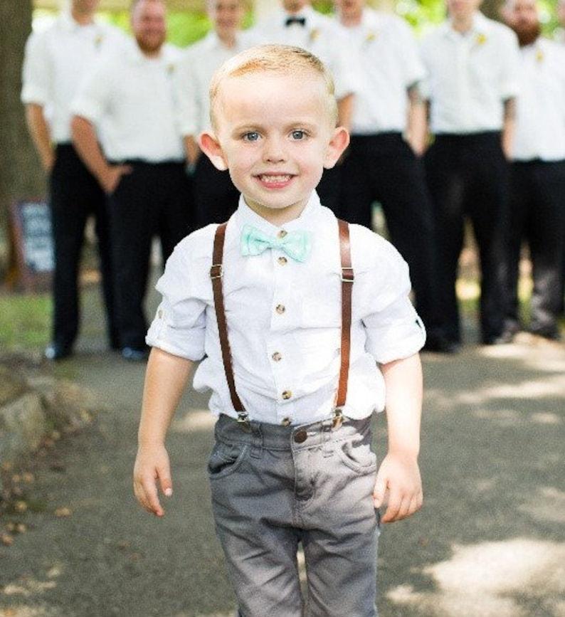 48489db19e17 Boys Leather Suspenders Toddler braces Bow tie Men's Suits | Etsy