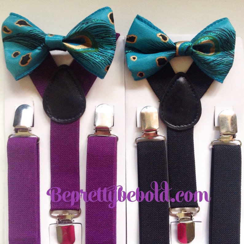 82b4e41125b9 Teal Bow tie suspenders Baby bowtie Plum Boys Bow ties Toddler | Etsy