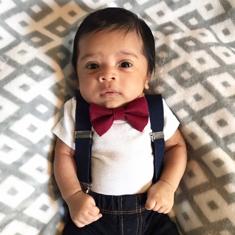 d479769097e Burgundy Bow tie Navy Blue Suspenders Newborn-XL Adult Bowties