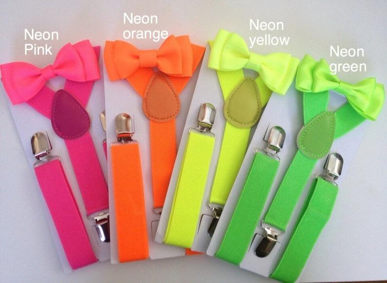 ab5a5fc02436 Neon Suspender   Bow tie set Boy Hot Yellow Bowtie Baby Shower