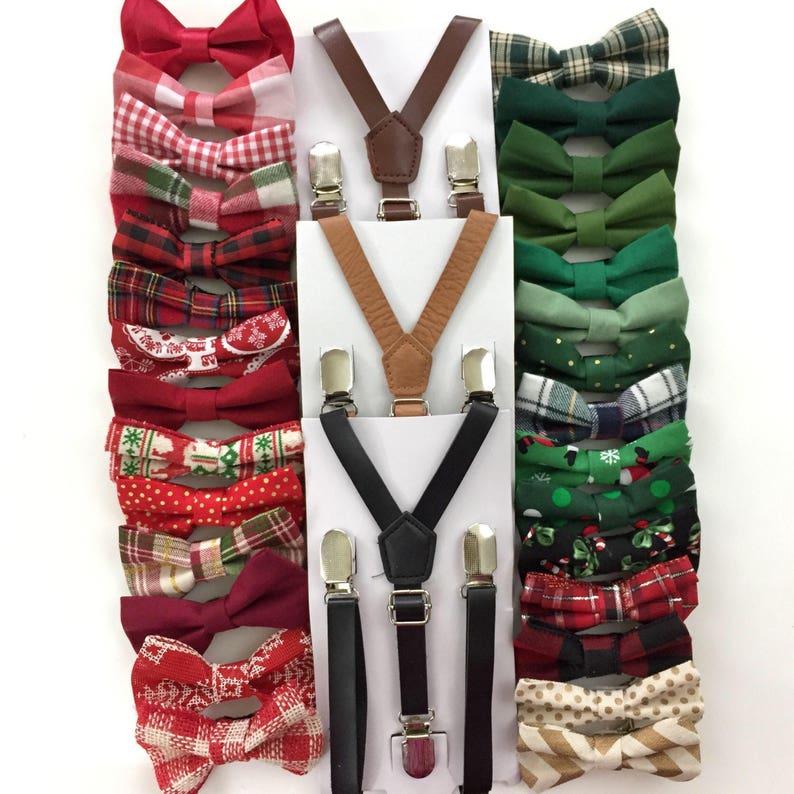 Black Leather Suspenders Holiday Bow Tie Mens Suspenders Etsy