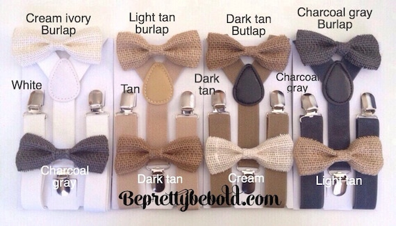 Burlap  Suspender and Bow Tie Set for Adults Men Women Teenagers