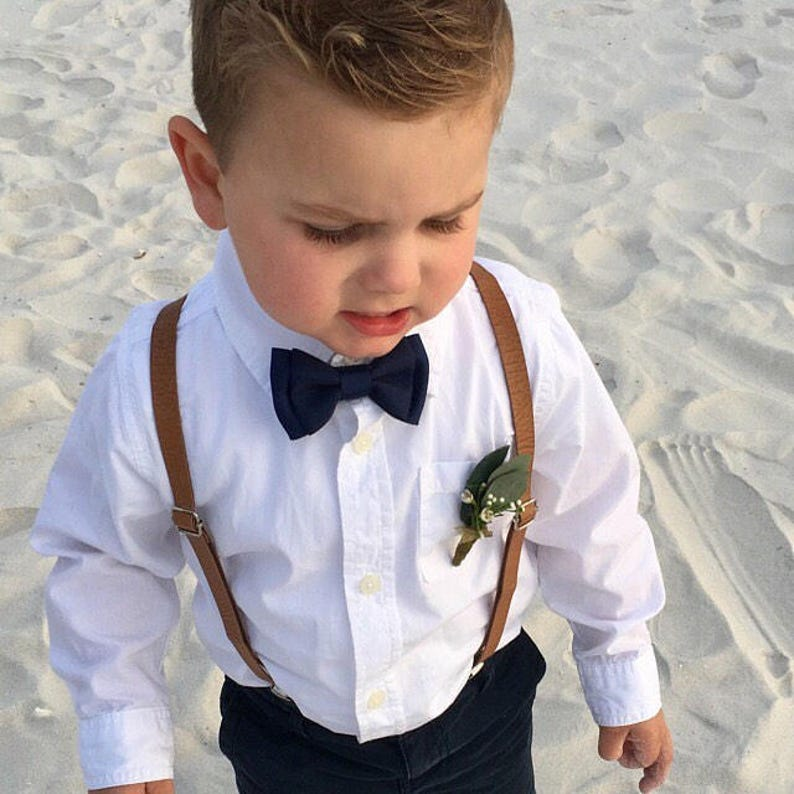 283213f2f84c Tan skinny Leather Suspenders Newborn Adult Navy Blue Bowtie | Etsy