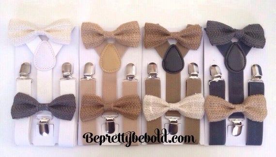 Burlap Bow Tie Suspender Set Rustic Wedding Ring Bearer Outfit Groomsmen Burlap Bow Ties Baby Toddler Boy Necktie Braces Gray Mens Tie