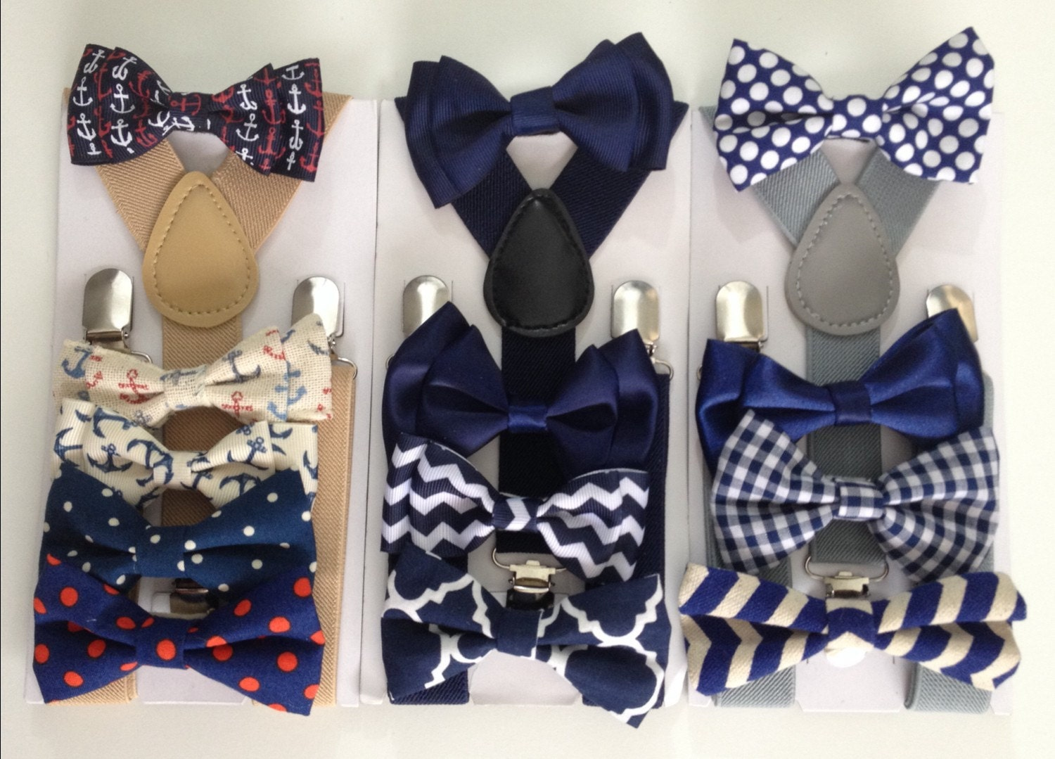 Navy Blue Gingham Bow Tie Suspender Set Baby Bowtie Boy Etsy