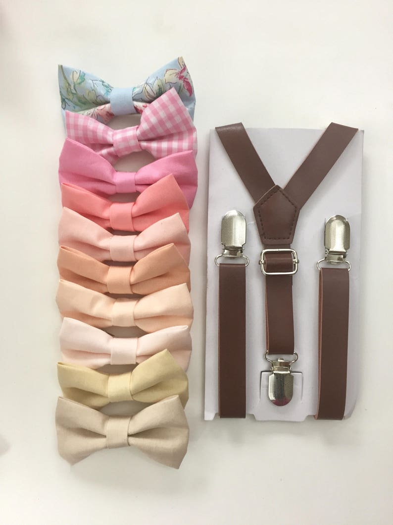 dd014ebbba53 Blush pink Bowtie Brown Leather suspenders for Boys Kid baby