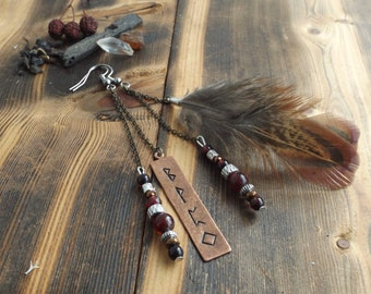 Red Garnet Earrings with Viking Runes and Wild Pheasant Feathers | Shamanic Earrings | Mis-Matched Earrings | Tribal Jewellery