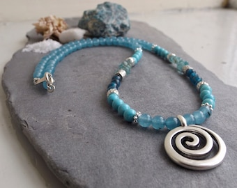 Blue Jade, Turquoise & Apatite Crystal Necklace with Silver Celtic Spiral Pendant | Sacred Healing Jewellery | Irish Boho Jewellery