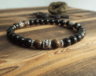 Black Obsidian & Bronzite Crystal Stretch Bracelet | Protection Bracelet | Spiritual Jewellery | Energy Healing Bracelet | Unisex Bracelet