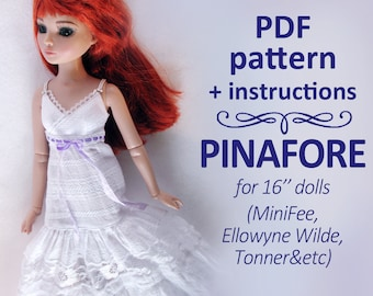 PDF pattern MSD White pinafore sarafan boho romantic dress for 16 inch doll Minifee Ellowyne Wilde Tonner