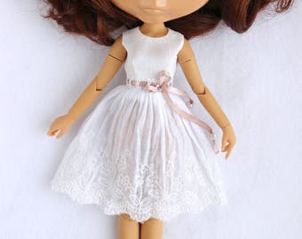 Blythe white boho romantic dress Momoko Azone Pure Neemo S body