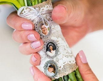Wedding Bouquet Memory Locket for Bride, Memory Pendant Photo Charm for Brides Bouquet, Wedding Charm with Photos for Brides Flowers,