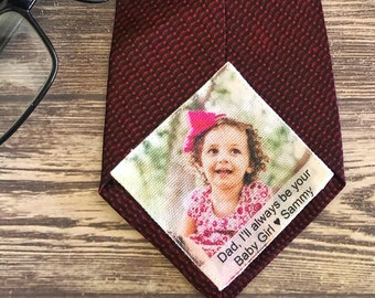 Wedding Gift for Dad, Father of the Groom Gift, Photo Tie Patch, Wedding Tie Label for Dad, Printed Tie Patch for Father Daughter Gift