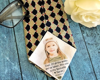 Dad Tie Patch with Photo, Wedding Suit Label, Personalised Tie Patch, Father of the Groom, Thank You Dad Label, Custom Tie Label for Dad