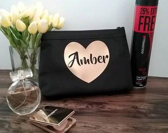 Personalised Makeup bag, bride gift, personalised bridesmaid gift, makeup bag, black makeup bag, gift for her, find personalised makeup bags