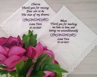 Personalised hanky, wedding hankies, wedding Handkerchief, mother of bride handkerchief, Embroidered handkerchief, personalised handkerchief