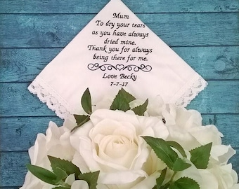 Wedding Handkerchief for mother of the bride gift, personalised embroidered hanky, mother of groom gift idea, custom hankies Australia