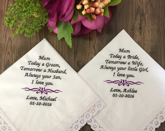 Mother of the Bride Personalised Wedding Handkerchief, Mother of the Groom Gift Idea, Embroidered Hanky, Personalised Wedding Accessories